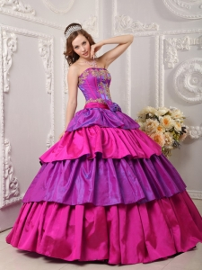 Quinceanera Dress Multi-color Ball Gown Strapless Taffeta Appliques