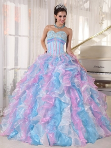 Quinceanera Dress Multi-color Ball Gown Organza Appliques