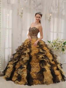 Multi-colored Quinceanera Dress Ball Gown Sweetheart Organza