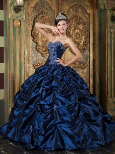 Navy Blue Quinceanera Dress Sweetheart Picks-up Taffeta