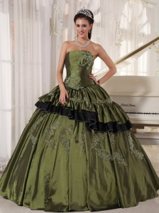 Quinceanera Dress Olive Green Strapless Taffeta Beading
