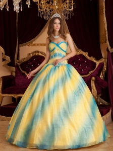 Ball Gown Ombre Color Sweetheart Beading Organza