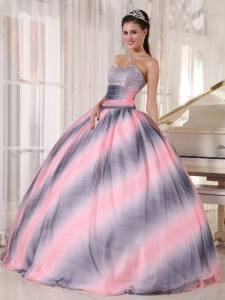 Ombre Color Ball Gown Sweetheart Floor-length Beading and Ruch