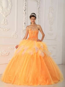 Orange Sweetheart Quinceanera Dress Satin and Tulle Beading