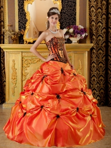 Orange and Black Strapless Embroidery Taffeta Quinceanera Dress