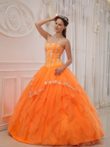 Orange Sweetheart Organza Appliques Quinceanera Dress