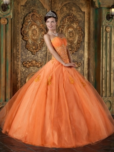 Orange Ball Gown Sweetheart Floor-length Organza Appliques