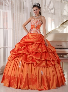 Orange Quinceanera Dress Sweetheart Taffeta Appliques and Ruch