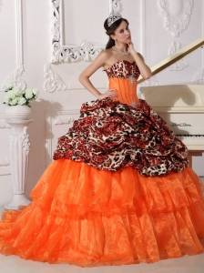 Orange Quinceanera Dress Sweetheart Leopard Organza Appliques