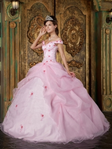 Pink Quinceanera Dress Off The Shoulder Organza Appliques