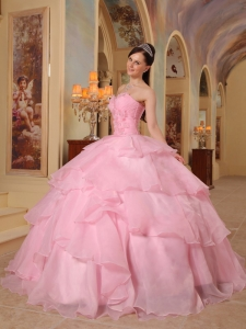 Pink Ball Gown Sweetheart Floor-length Organza Beading