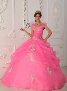 Pink Ball Gown V-neck Taffeta and Organza Appliques with Beading
