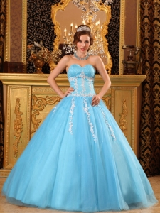 Quinceanera Gown Floor-length Tulle Appliques Aqua Blue
