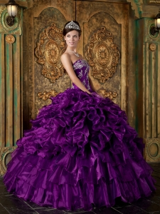 Quinceanera Dress Purple Strapless Organza Ruffles