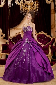 Quinceanera Dress Sweetheart Purple Taffeta Tulle Appliques