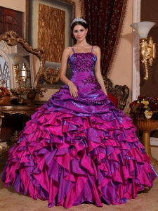 Purple and Fuchsia Straps Satin Embroidery Beading Ball Gown