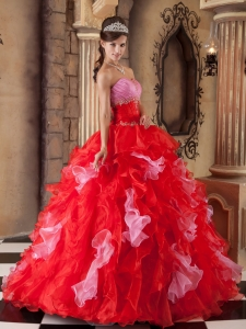 Red Quinceanera Dress Strapless Organza Beading and Ruffles