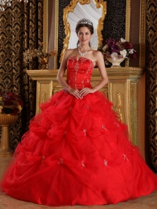 Red Quinceanera Dress Strapless Floor-length Pick-ups Tulle