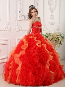 Ball Gown Red Sweetheart Organza Appliques and Beading