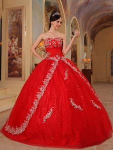 Red Ball Gown Sweetheart Organza Embroidery and Beading
