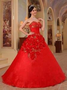 Red Quinceanera Dress Sweetheart Organza Handle Flowers