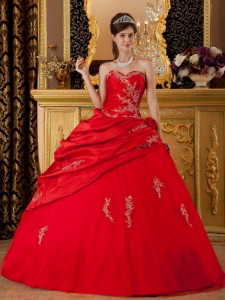 Quinceanera Dress Sweetheart Floor-length Taffeta Appliques Red