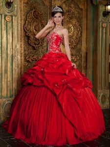 Red Ball Gown Sweetheart Taffeta Beading Appliques