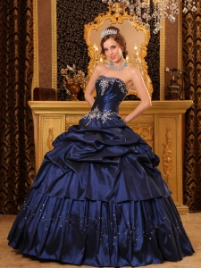 Navy Blue Ball Gown Strapless Floor-length Appliques Taffeta