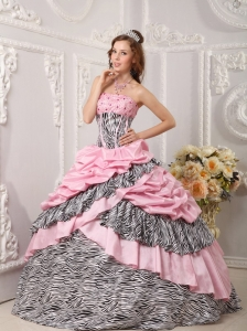 Strapless Taffeta and Zebra Beading Pink Quinceanera Dress