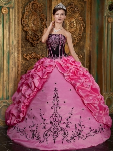 Hot Pink Strapless Embroidery Taffeta Quinceanera Dress