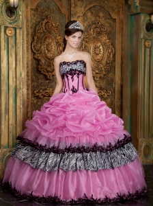Ball Gown Rose Pink Strapless Picks-Up Quinceanera Dress