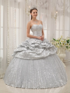 Silver Ball Gown Sweetheart Appliques Quinceanera Dress Ruffles