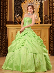 Spring Green Ball Gown Strapless Floor-length Taffeta Beading