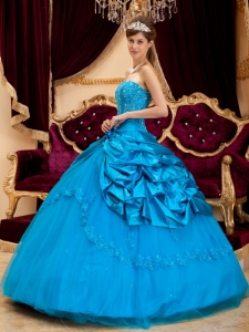 Blue Ball Gown Strapless Taffeta and Tulle Lace Appliques