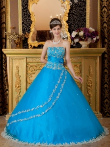 A-line Blue Strapless Tulle Lace Appliques Quinceanera Dress