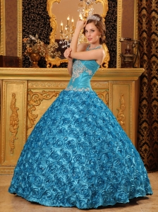 Fabric With Rolling Flowers Teal Ball Gown Sweetheart Appliques