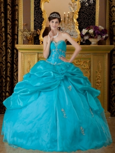 Teal Ball Gown Sweetheart Floor-length Organza Appliques