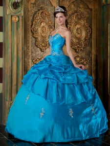 Teal Quinceanera Dress Sweetheart Taffeta Appliques