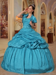 Teal Ball Gown Sweetheart Taffeta Beading Quinceanera Dress