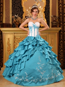 Baby blue Quinceanera Dress Sweetheart Ruffles Embroidery
