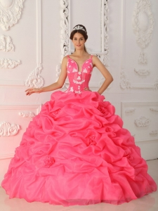 Watermelon Ball Gown Straps Satin and Organza Appliques