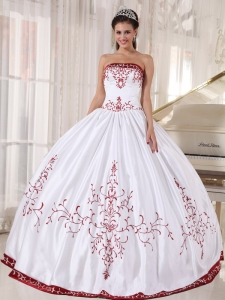 Embroidery White And Wine Red Quinceanera Dress Strapless Satin