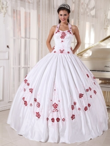 Embroidery White Ball Gown Halter Taffeta Quinceanera Dress