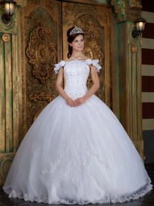 Off The Shoulder Organza Appliques Quinceanera Gown Dress
