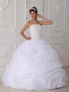 White Ball Gown Strapless Floor-length Organza Lace