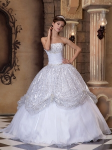 Ball Gown White Strapless Floor-length Pick-ups Sequins