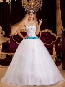 White Strapless Satin Appliques Quinceanera Dress