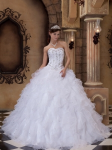 White Ball Gown Sweetheart Organza Beading Quinceanera Dress