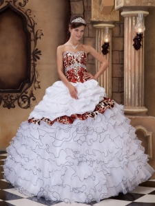 Leopard White Quinceanera Dress Sweetheart Organza Ruffles