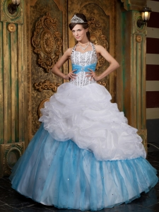 White and Blue Halter Floor-length Beading Quinceanera Dress